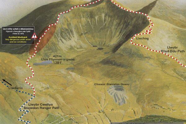 Llwybr Cwellyn Snowdon Ranger Path Map APCE SNPA